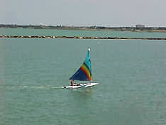 sailboat in the bay at Corpus Christi